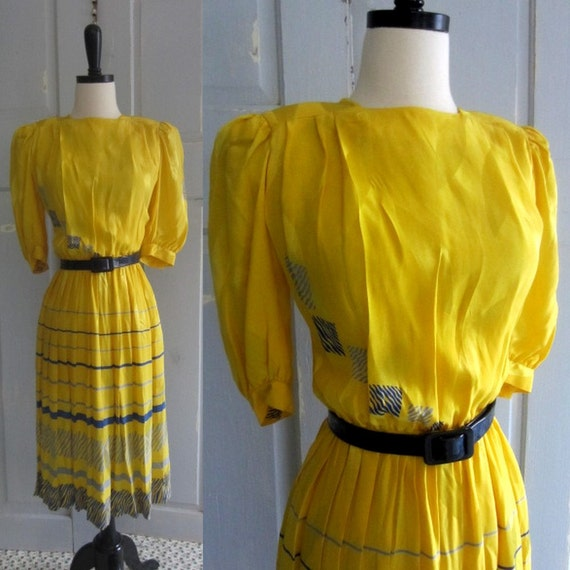 Yellow Vintage Dress, 1970s Silk Dress with Navy Stripes SM