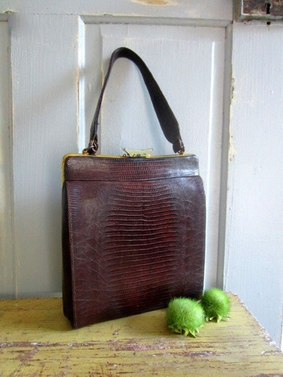 Vintage 1950s Purse Handbag 50s Leather Skin Purse Aliigator Snake Skin