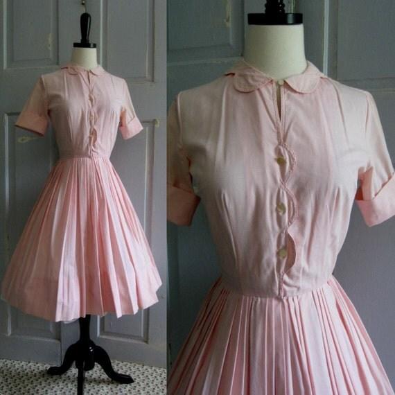 1950s Dress, 1950s Pink Shirt Waist Dress with Full Skirt XS
