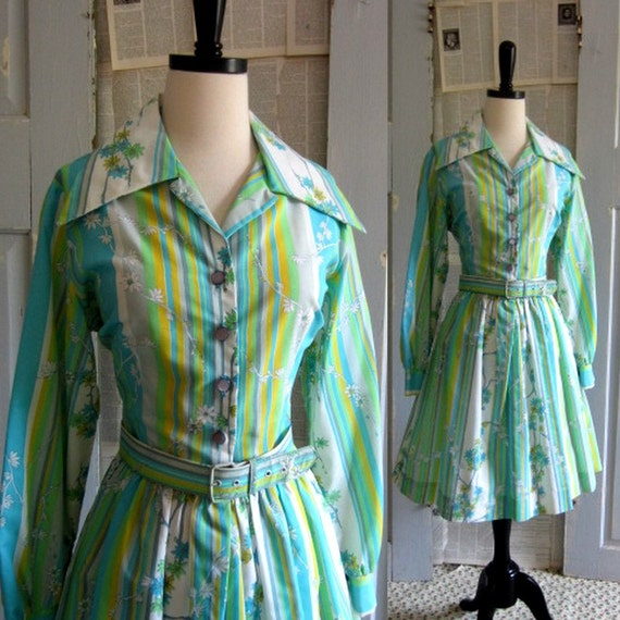 Vintage 1960s Dress, 60s Full Skirt Cotton Dress MED LG