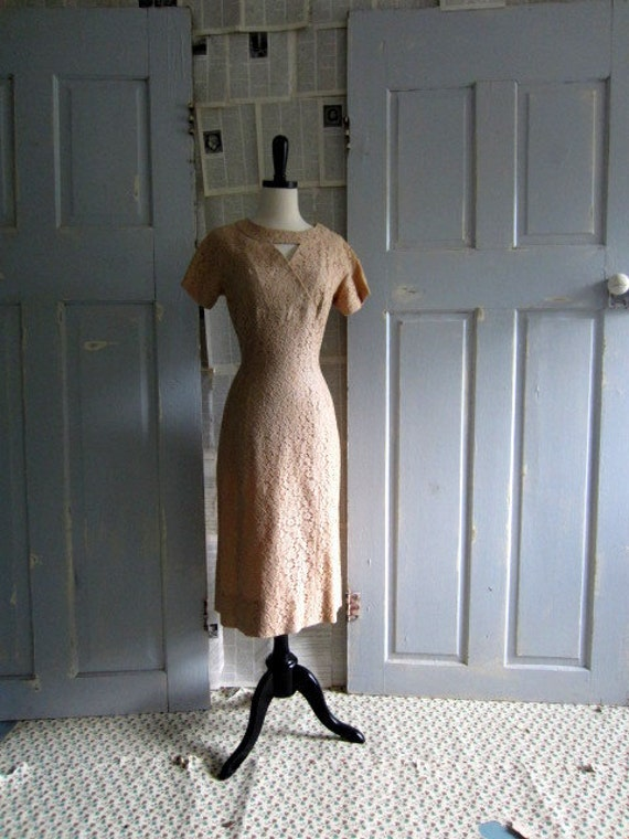 Reserved Reserved Reserved  1960s Cocktail Dress, 60s Illusion Lace Fitted Cocktail Dress MED