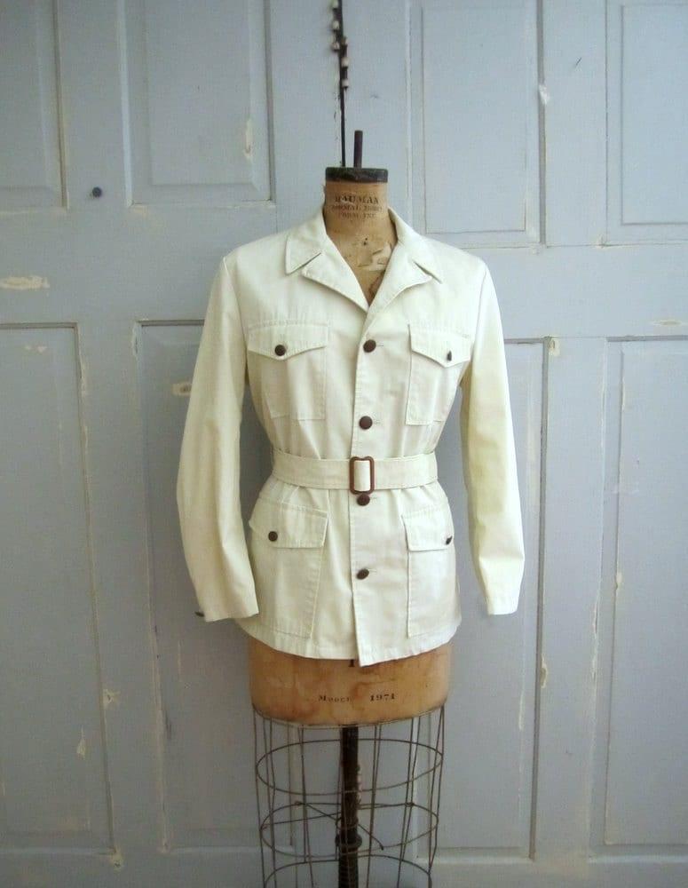 vintage safari jacket white s safari jacket 1970s sm