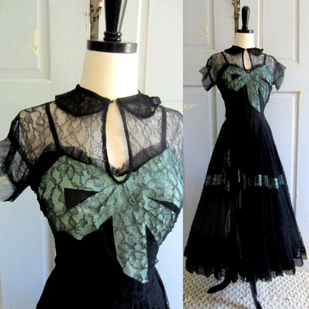 40s 50s Cocktail Dress Vintage Emma Domb Black Cocktail Dress