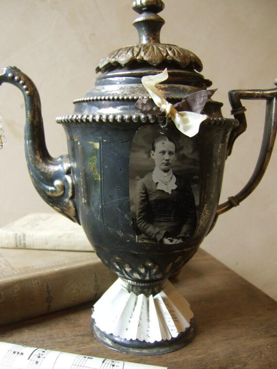 TEA PARTY II, Altered Art Tea Pot