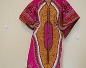 Vintage Boho Hippie Dashiki Style Hot Pink Dress (SMALL)