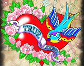 Old School Tattoo Blue Bird and Heart Digital Picture 8 1/2 x 11 Inches