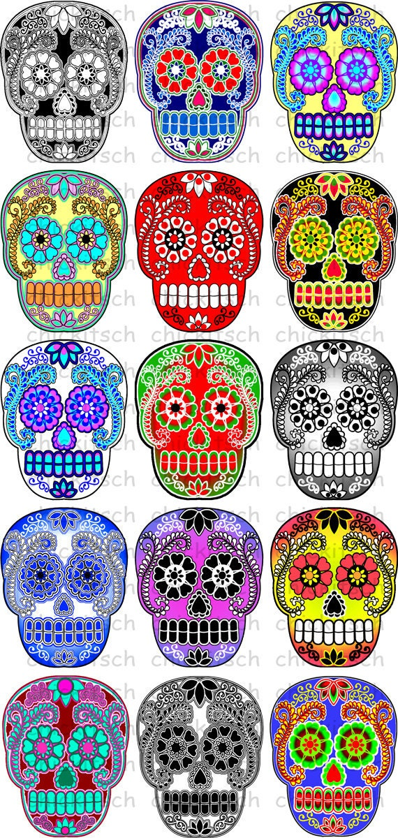 Sugar Skull Clip Art Sugar skull digital pictures