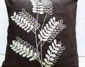 stylised tree embroidered on a brick textured suede pillow size in 16inchx16inch(40cmx40cm)