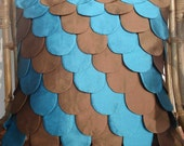 Blue and Brown Fish scales cushion in the size 40cmx40cm