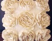cream rose cushion in size 40cmx40cm