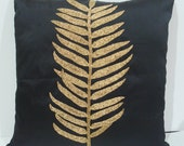 black pillowcase-botanical leaf design-with gold sequins-art deco style-16inches