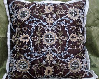 garden-brown embroidered trellis cushion cover16x16,modern decorative art deco home decor,accent pillowcasee,throw pillow,william morrison