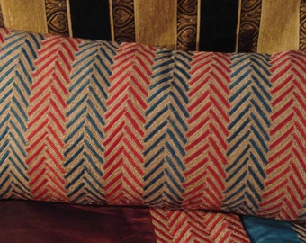 modern decorative indoor zebra embroidered herringbone texture weave cushion cover in size 9 inch x18 inch-by TATVAKALA