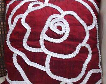 red pillow rose flower ribbon flower satin flower designer pillow decorative pillow valentine pillow accent pillow