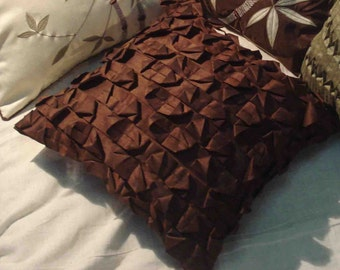 modern textured brown pintuck cushion 16inchx16inch
