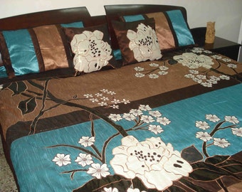 wild flower field duvet cover in size 90inchX108inch in brown and teal colour