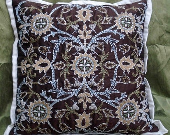 kilim pillow embroidered pillowcase designer pillow brown pillow throw pillow decorative pillow vinatge pillow fathers gift june trend
