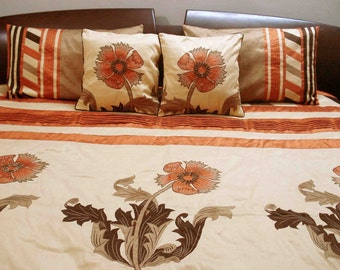 modern sunflower patchwork embroidery duvet in size 90 x 108 inches,