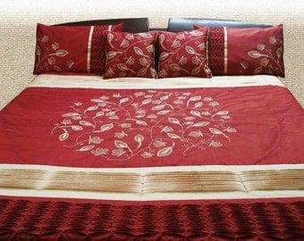 Duvet Cover,red bedding set,applique design,embroidery,king duvet cover 90x108 inches- 2 pillowcase 20x26-2 pillows16x16 -garden trellis