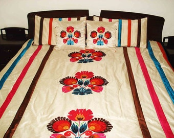 """Colourful floral applique embroidered quilt/bedspread in the size 100""""x108"""""""