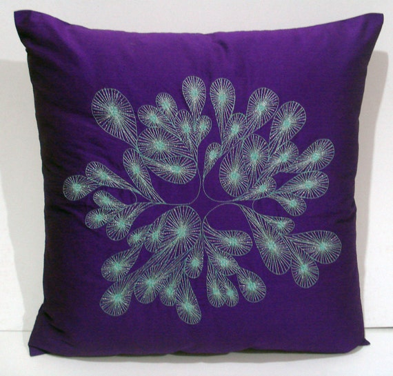 purple blue abstract embroidered  cushion in size 16 inch x 16 inch