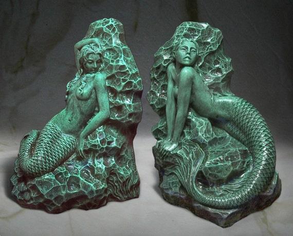 A Pair of Hand Crafted Mermaid Bookends Sculptures Antique Green Finish