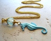 Teal Sea Horse Necklace Faux Patina Verdigris and Fire Polished Czech Glass