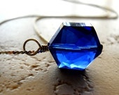 Deep Night Necklace / Sapphire Blue Hexagon Glass Pendant / Modern Jewelry, Geometric Necklace, Hex Cut Crystal