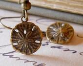Sand Dollar Earrings Antiqued Brass Nautical Beach Tiny Bronze Charms