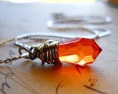 Orange Crystal Necklace in Rust, Silver Wire Wrapped, Prism Collection LAST ONE