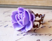 Purple Rose Ring Antiqued Copper Filigree Flower Jewelry SALE