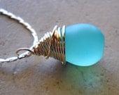 Aqua Quartz Necklace Frosted Wire Wrapped Briolette Pendant on Silver