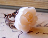 Rose Ring Pale Pink Antiqued Copper Filigree Shabby Chic Vintage Inspired Jewelry SALE