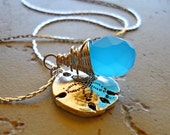 Sand Dollar Necklace with Blue Stone, Silver Charm Necklace, Gift for Beach Lovers, Nautical Jewelry