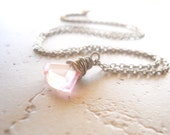 Pink Crystal Necklace, Wire Wrapped, Faceted Fan Shaped Drop Pendant, 24 Inches