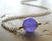 Alexandrite Necklace Sterling Silver Lilac Purple Pendant Smooth Round 18 inches