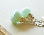 Mint Green Gemstone Earrings / Simple Wire Wrapped Gemstone Drops / Sterling Silver and Seafoam Green Stone Dangles / Mystic Chrysoprase