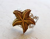 Starfish Ring, Shabby Chic Nautical Beach Cottage Jewelry, Beach Wedding Favors, Metallic Bronze Starfish Jewelry, White Nautical Ring