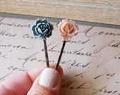 Blush and Gray Flower Bobby Pins, Pale Pink and Slate Gray Roses on Antiqued Hair Pins, Shabby Chic Hair Accessories for Girls