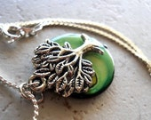 Tree of Life Necklace, Green Tree Necklace, Green and Silver Necklace, Earthy Mother of Pearl Woodland Forest Rustic Jewelry Mother Earth