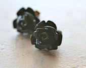 Gothic Rose Earrings / Black Roses Flower Jewelry / Black Stud Earrings - The Rosie Medium