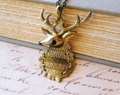 Reindeer Necklace Deer Necklace Christmas Jewelry Holiday Reindeer with Antlers Woodland Jewelry Antiqued Brass Hinged Charm Pendant