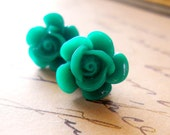 Emerald Green Gothic Rose Earrings / Large Shabby Chic Studs, Cabbage Roses Post Earrings