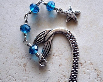 Ocean Blue Mermaid Bookmark, Teal Crystals Jeweled Book Marker, Silver Starfish Charm Wire Wrap, Metal Page Marker Book Lovers Gifts