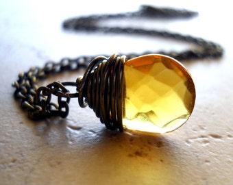 Yellow Necklace / Yellow Wire Wrap Necklace / Bohemian Jewelry / Boho Honey Yellow Jewel Rustic Jewelry, Chloe