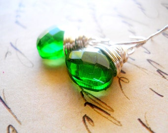 Emerald Green Drop Earrings, Irish Green and Silver Wire Wrap Dangles, Simple Forest Green Jewelry