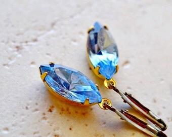 Blue Estate Style Earrings, Blue Jewel Earrings, Vintage Glass Earrings, Marquise Dangles Light Sapphire Jewels Sapphire Rhinestone Earrings