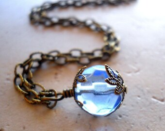 Antique Lake Necklace, Blue Glass on Textured Antiqued Brass Chain, Vintage Inspired Jewelry, Beaded Blue Necklace