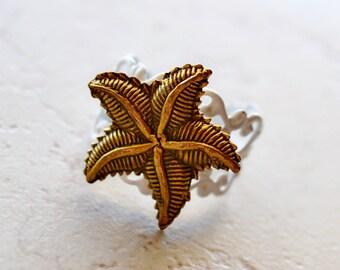 Starfish Ring, Shabby Chic Nautical Beach Cottage Jewelry, Beach Wedding Favors, Metallic Bronze Starfish Jewelry, White Nautical Ring
