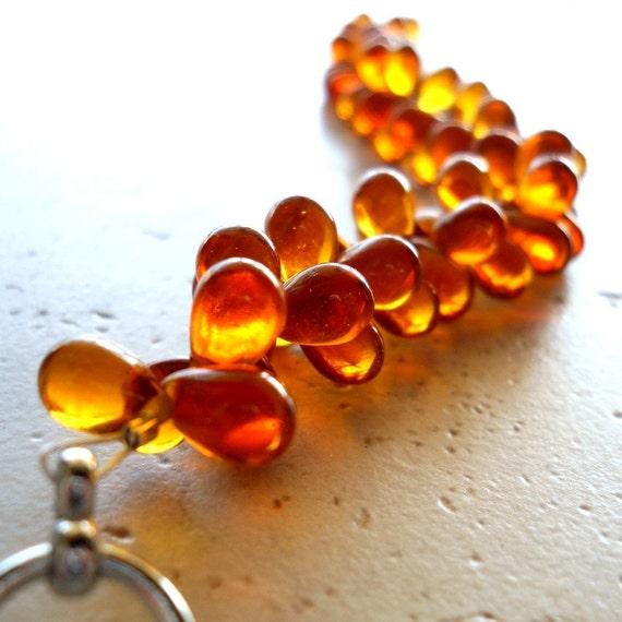 Honeycomb Bracelet Amber Cluster Honey Autumn Teardrops LAST ONE